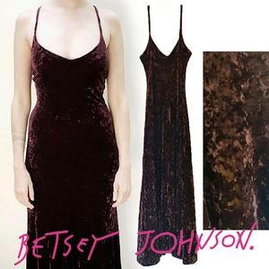 90s Betsey Johnson Crushed Velvet Dress.